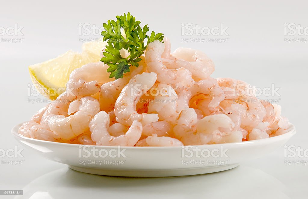 Plateful of shrimps royalty-free stock photo