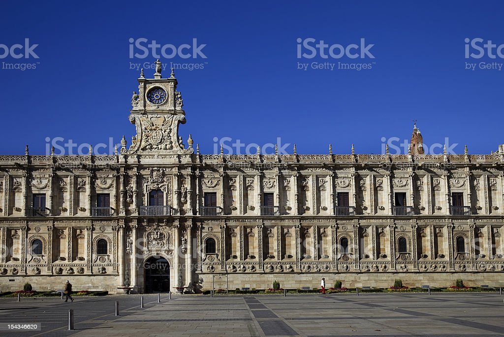 Plateresque style facade of St Marcos Hostal (Leon,Spain) stock photo