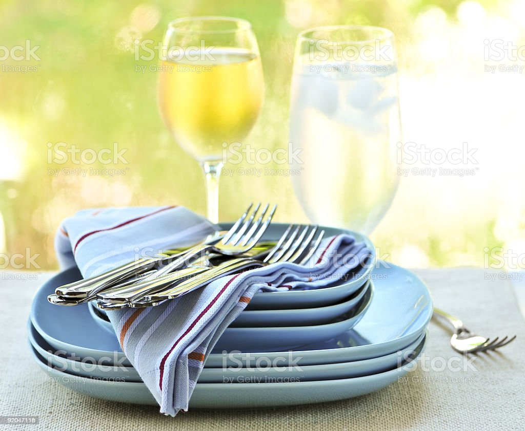 Plates and cutlery royalty-free stock photo