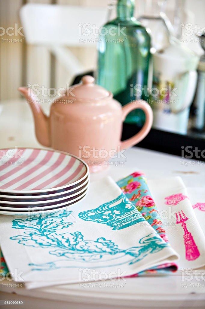 Plates and Tea Pot stock photo