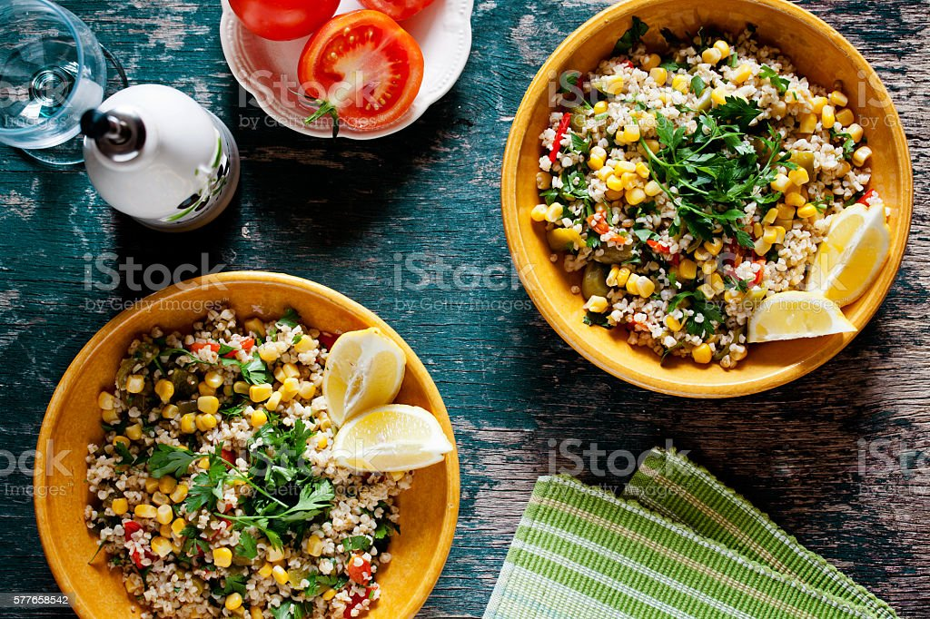 Plates Of Refreshing Summer Bulgur Salad stock photo