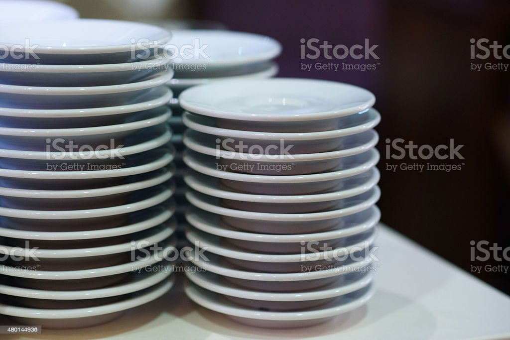 Plates stacked together stock photo