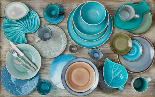 Plates variation Different plates on wood ceramics stock pictures, royalty-free photos & images