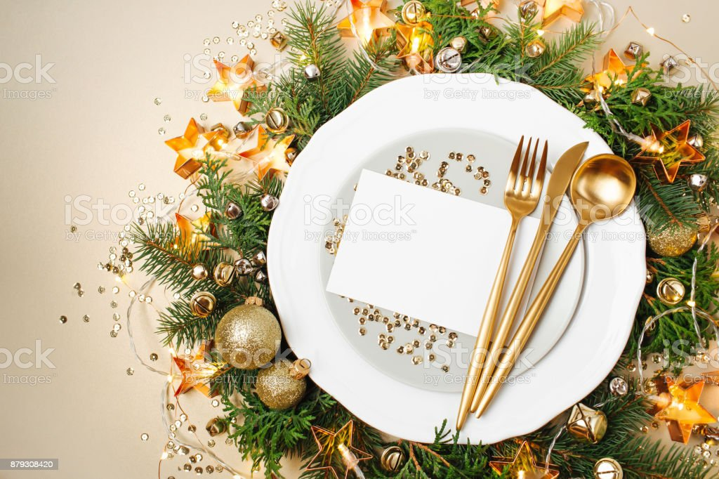 Plates With Empty Card Mockup For Your Text And Gold Cutlery On Christmas Decoration Background Flat Lay Top View Stock Photo Download Image Now Istock
