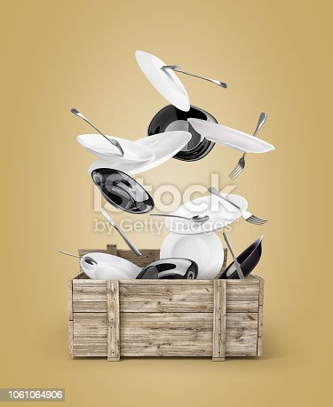 plates with forks and spoons that fly out of the box, isolated on a colored background