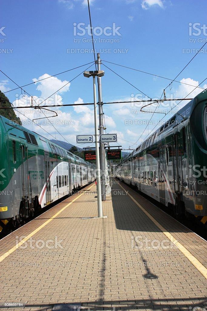 Platform 2, 3 at railway station in Laveno Mombello Italy stock photo