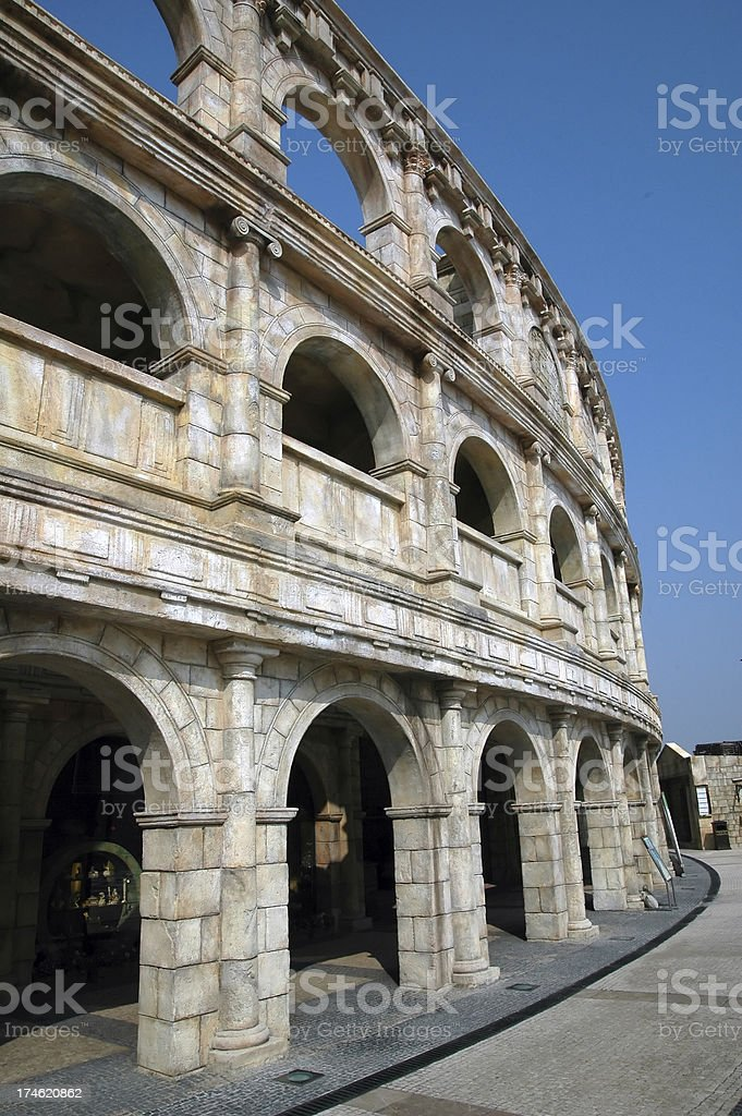 Platform and shops in a colosseum style building stock photo