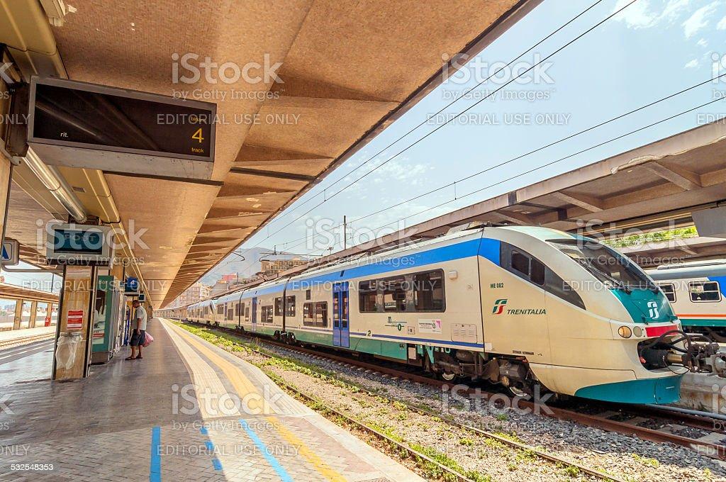 platform and train at Palermo railway station, Italy stock photo