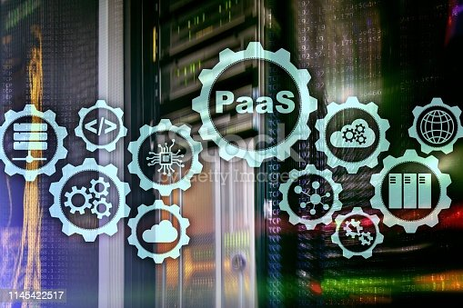 Platform as a service PaaS - cloud computing services concept. Server room background.