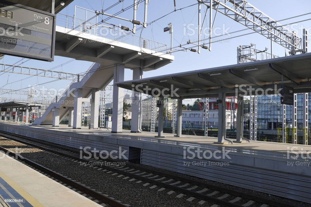 Platform at the railway station in Adler, Russia royalty-free stock photo