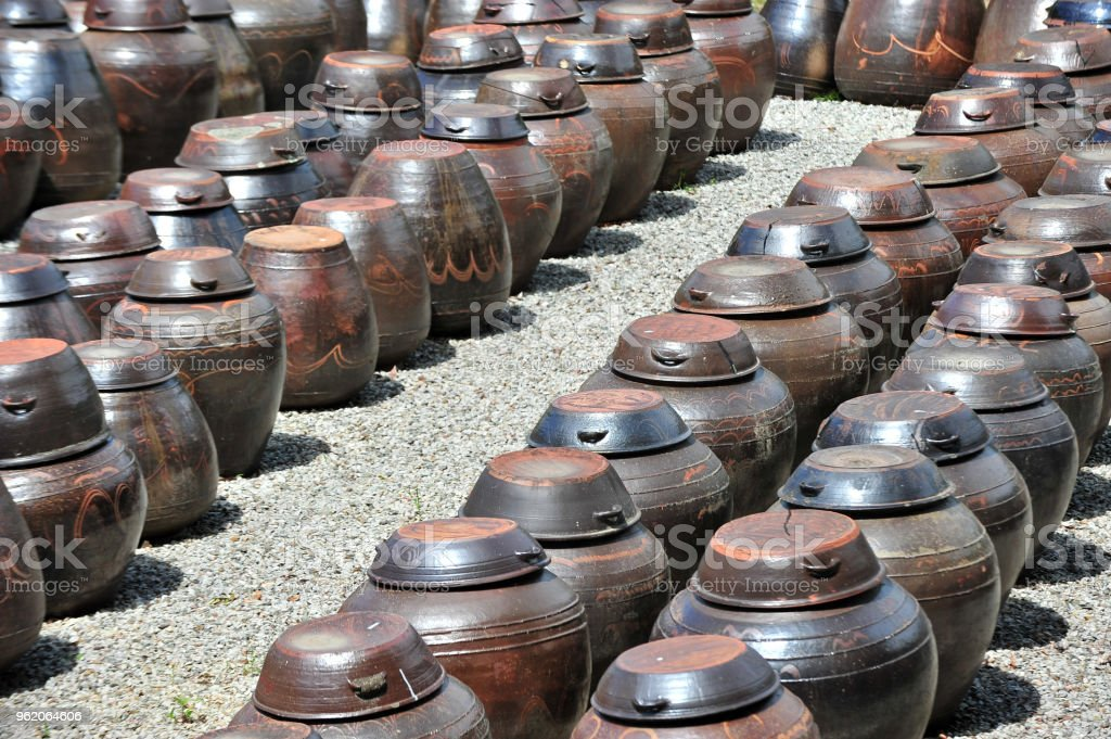 Platform for crocks of sauces and condiments at the built in 1709 MyeongJae Korean traditional house stock photo