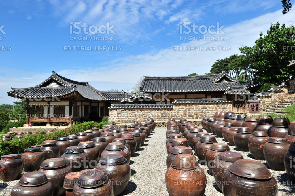 Platform for crocks of sauces and condiments at the MyeongJae Korean traditional house stock photo