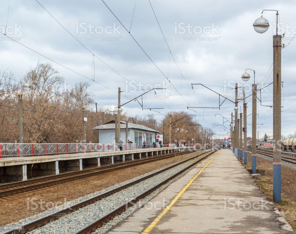 Platform for suburban train stock photo