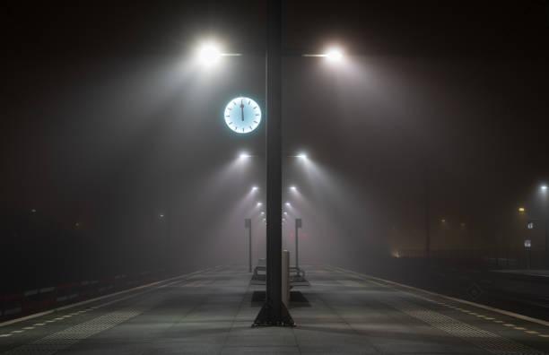 Platform in the fog stock photo