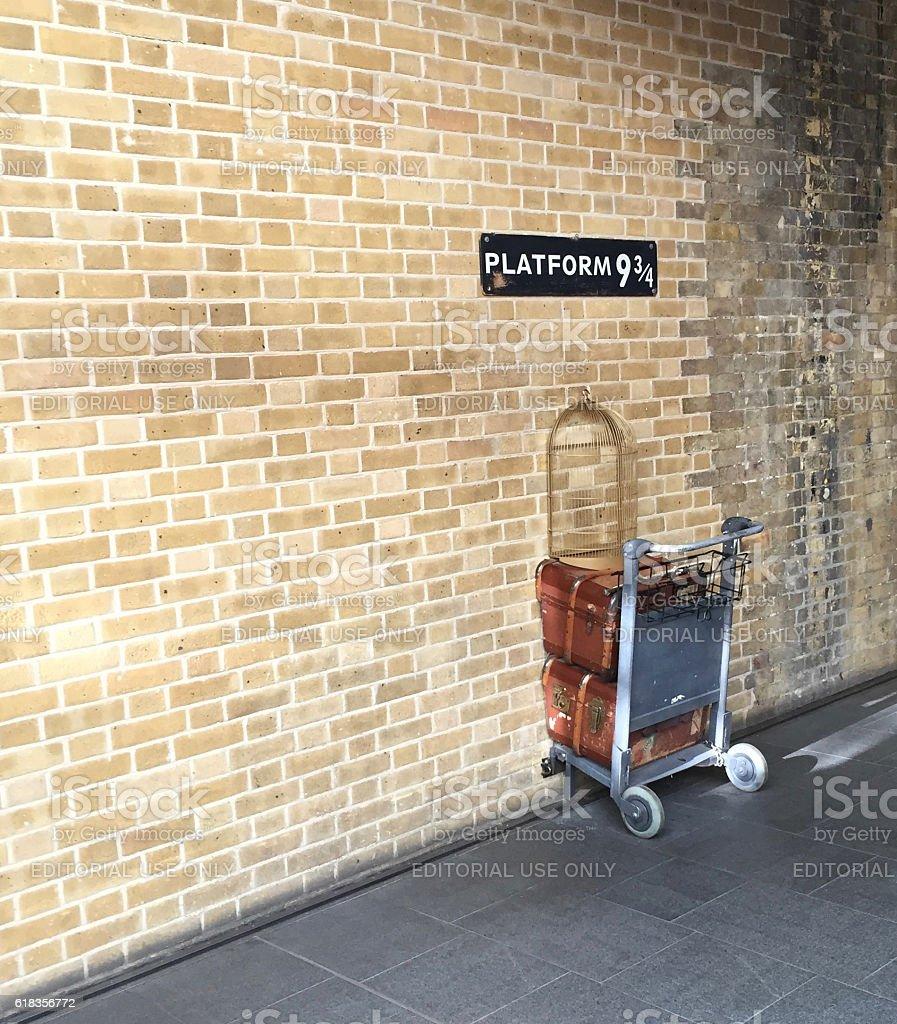 Platform nine and three-quarters at King's Cross station, London stock photo