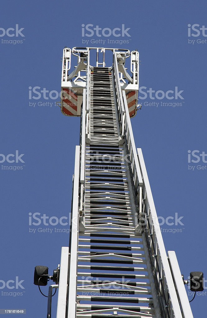platform of a fire truck during practice session royalty-free stock photo