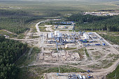 Oil and gas deposit in Siberia on extraction and oil refining and passing gas