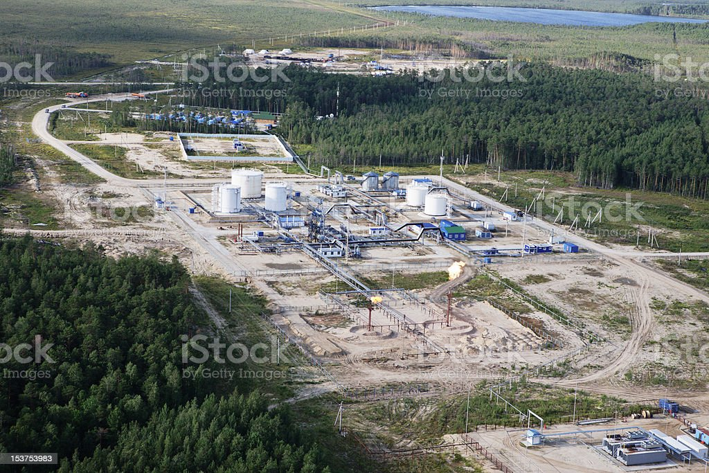 Platform on extraction and oil refining royalty-free stock photo