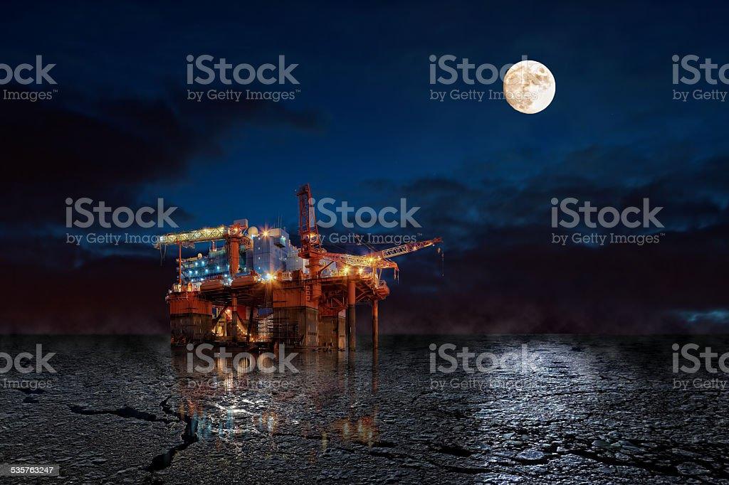 Platform on sea stock photo