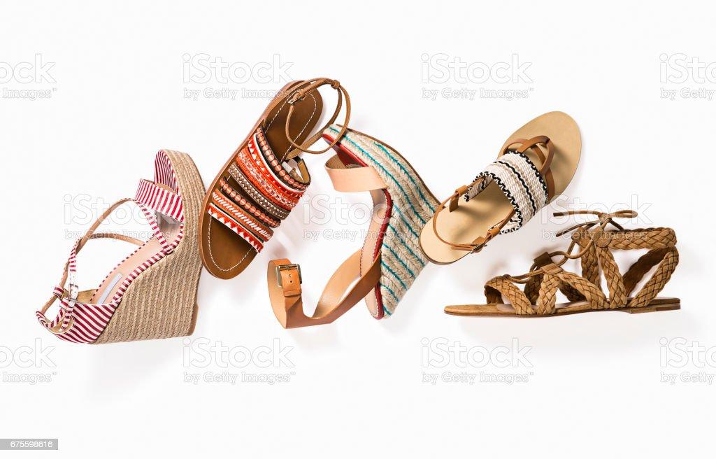 Platform shoes isolated on white background stock photo