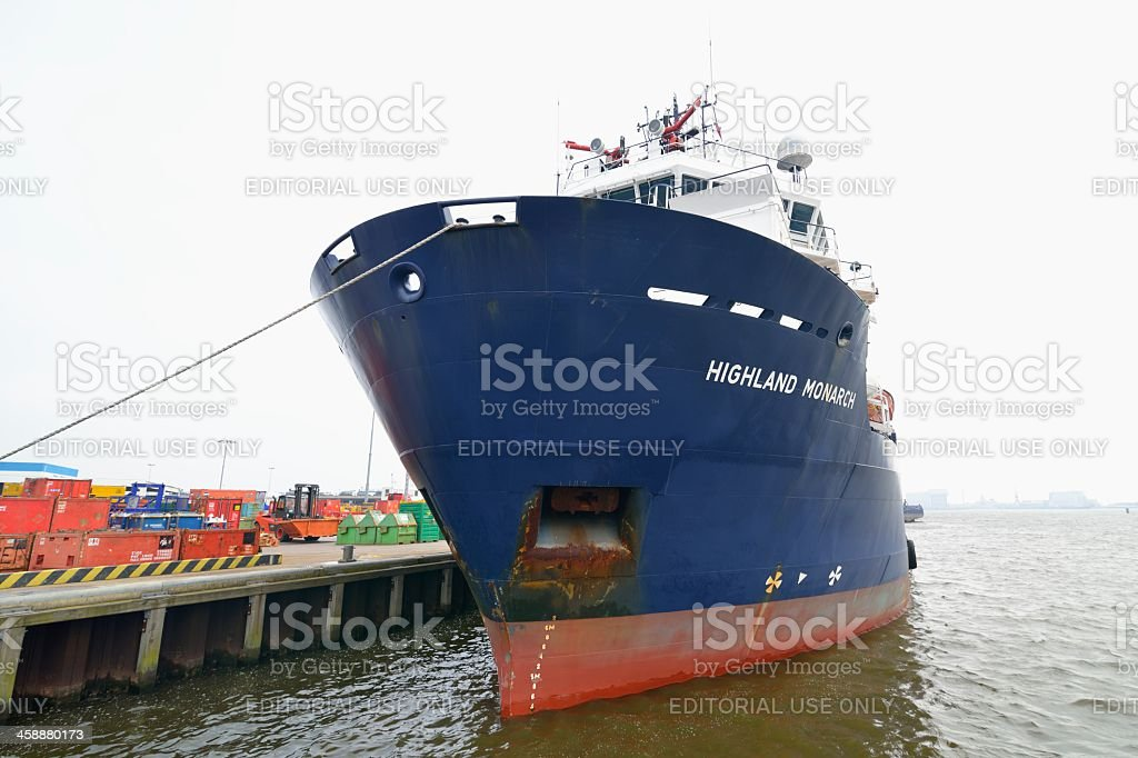 Platform supply ship stock photo