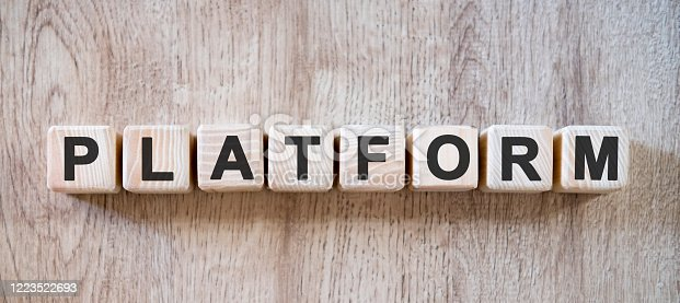 477843023 istock photo Platform websites - text on small wooden cubes on a natural table 1223522693