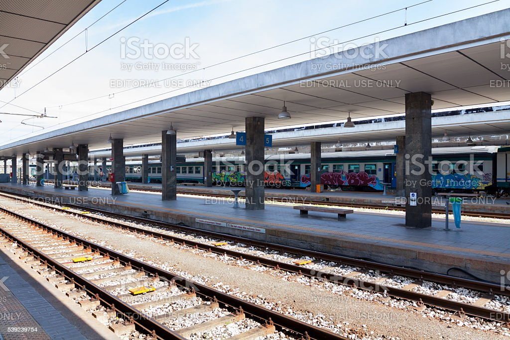 Platforms of station Milano Milano Porta Garibaldi royalty-free stock photo