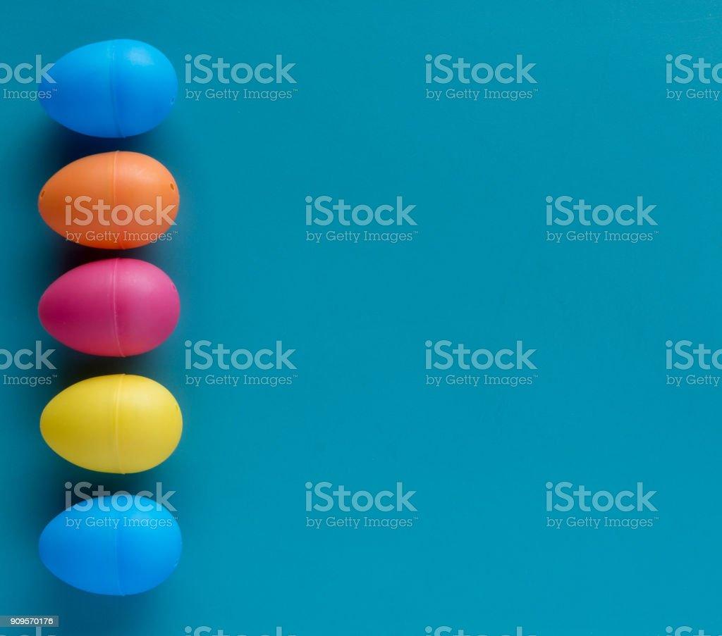 Platic easter eggs margin copyspace stock photo