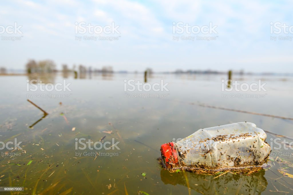 Platic waste after the flooding in the overflow area of the river IJssel stock photo