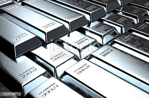 A stack of solid platinum ingots on an isolated dark background - 3D render