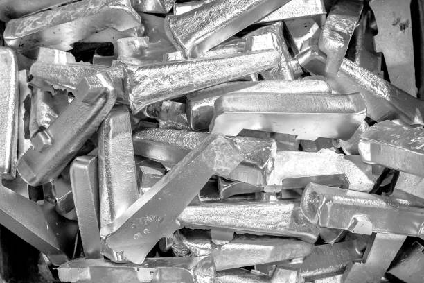 Platinum ingots background. Metal texture. Silver backgroun. Stainless steel, aluminium, white gold. stock photo