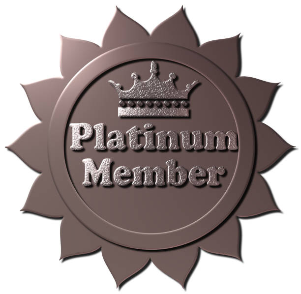 platinum member (with crown) - platinum stock photos and pictures