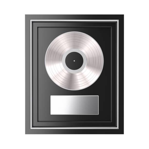 platin oder silber vinyl oder cd-preis mit label in black frame. 3d rendering - platinum stock-fotos und bilder