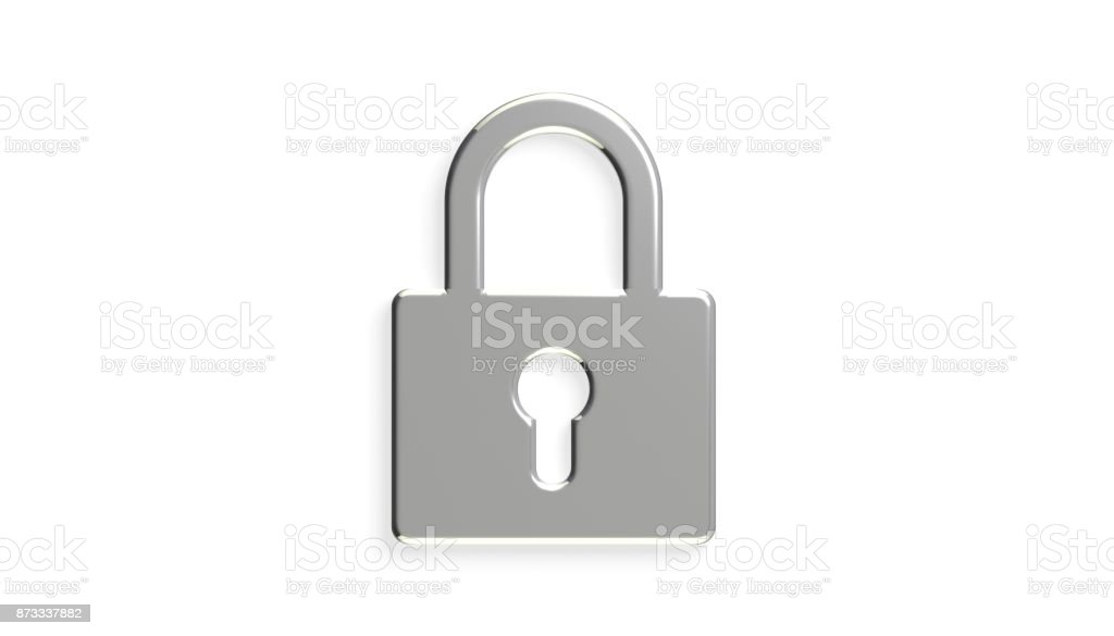 Platinum Padlock Security Device. 3D Rendering Illustration stock photo