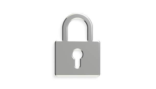 dispositivo de segurança cadeado platina. ilustração de renderização em 3d - fechadura - fotografias e filmes do acervo