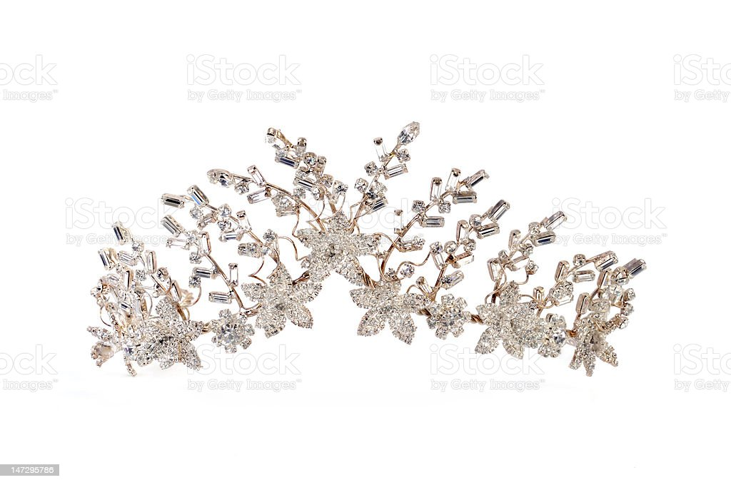 Platinum tiara isolated on a white background stock photo