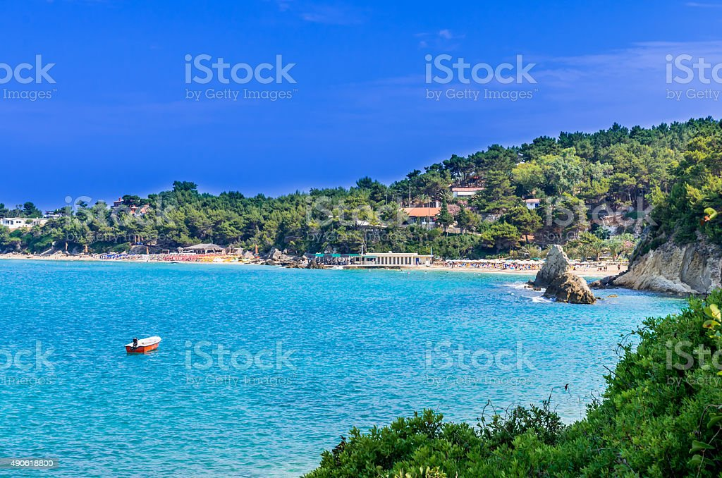 Platis Gialos and Makris Gialos Beach, Kefalonia island, Greece stock photo