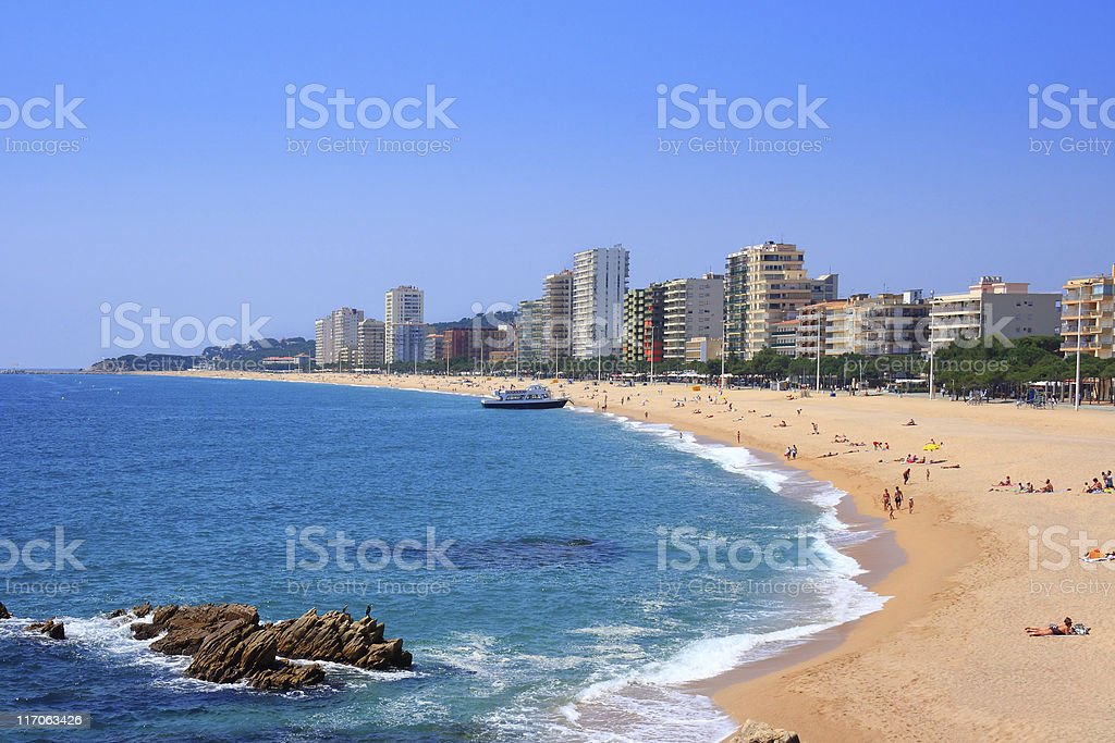 Platja d'Aro beach (Costa Brava, Spain) stock photo