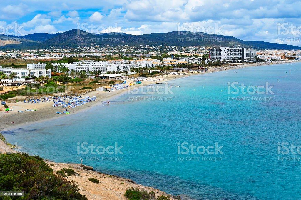 Platja den Bossa beach in Ibiza, Spain royalty-free stock photo