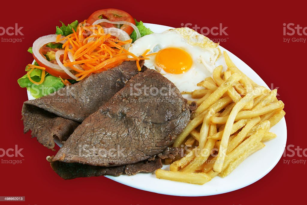 Plato combinado con bistec de ternera stock photo