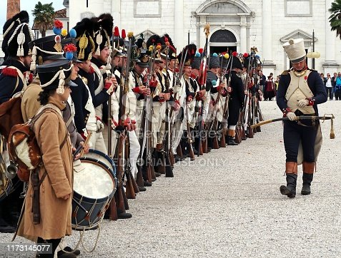 Palmanova, Italy. September 8,2019. Platoon of French fusilier from the Napoleonic army lined up in front of their commander during the reenactment in the town's parade ground