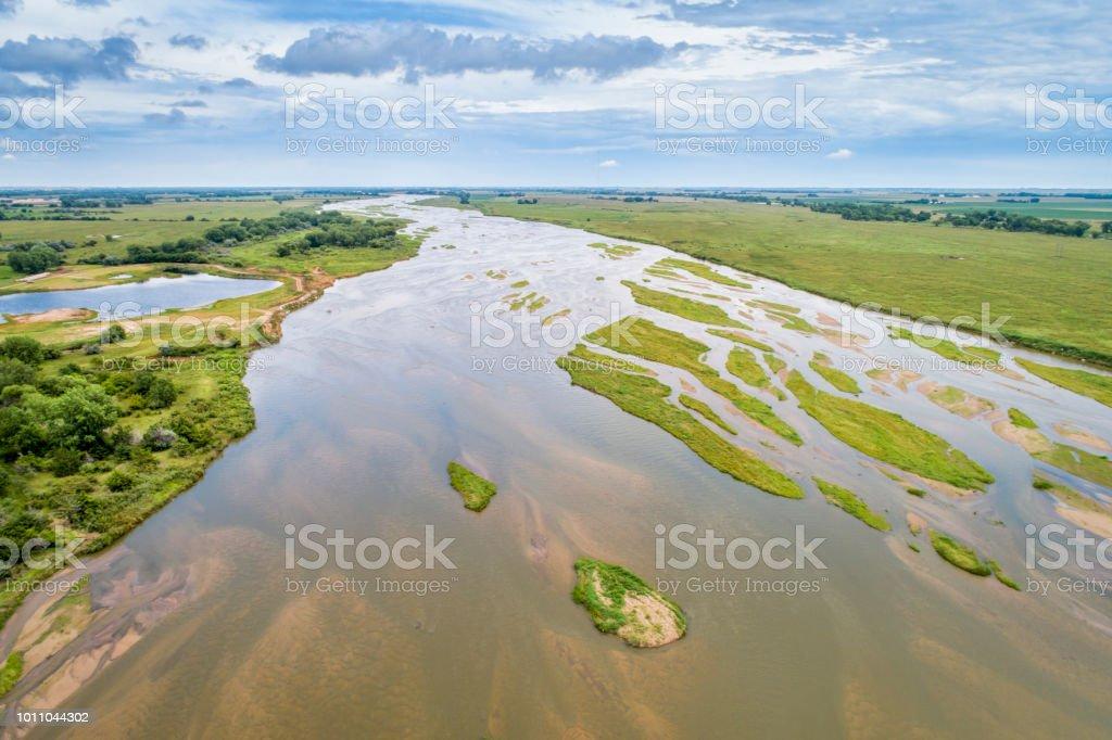 Platte River in Nebraska - aerial view stock photo