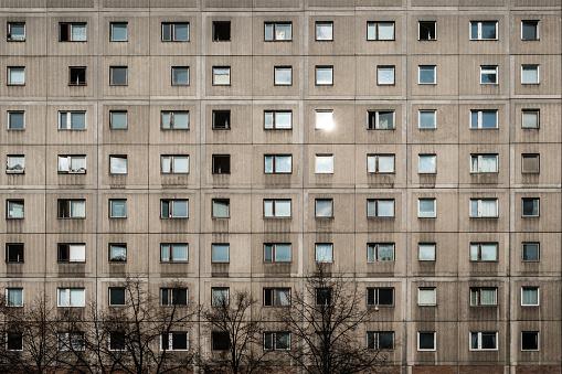 Plattenbau building facade
