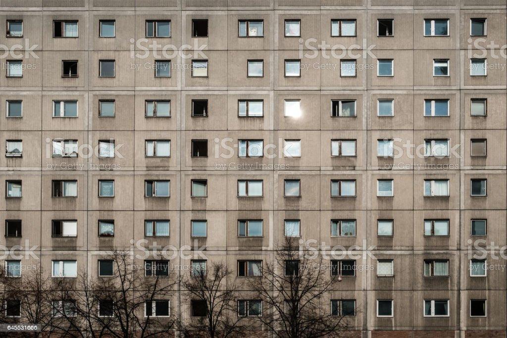 Plattenbau building facade stock photo