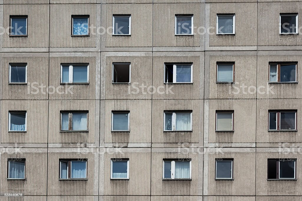 Plattenbau building - gdr building facade stock photo