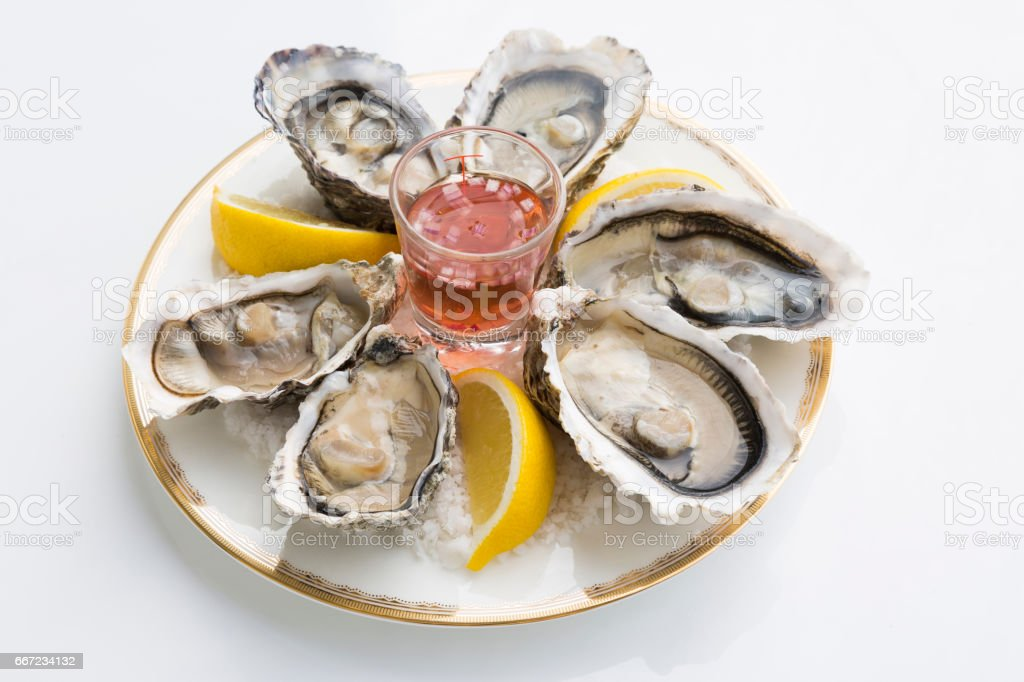 A platter of fresh organic raw oysters on sea salt stock photo
