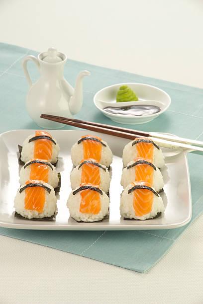 Platter of fresh sushi stock photo