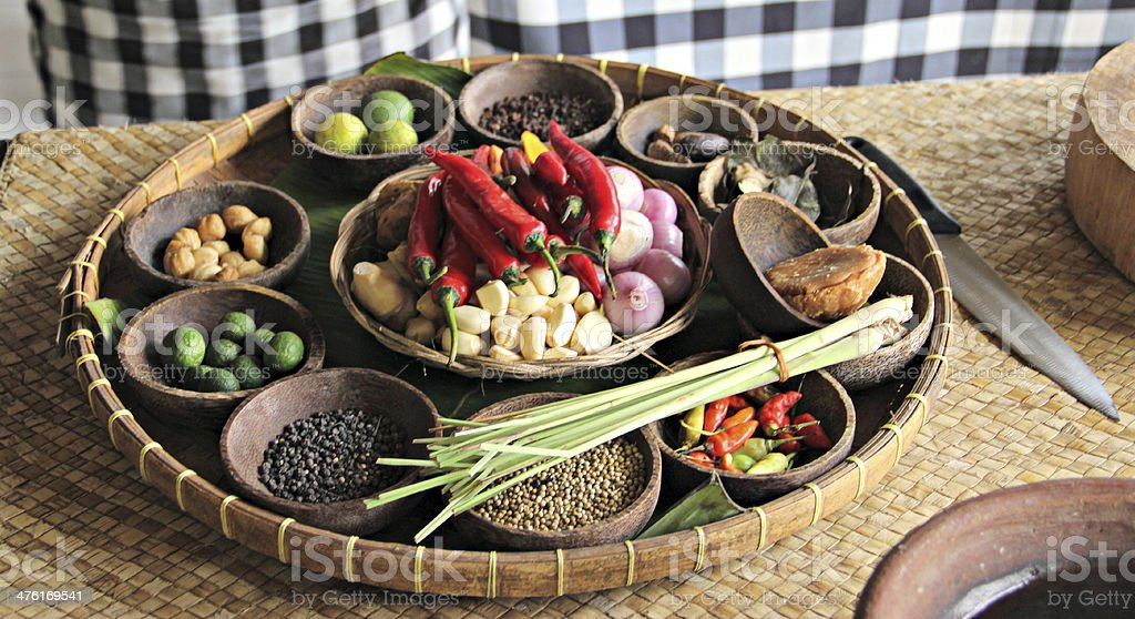 Platter of Indonesian Food Ingredients stock photo