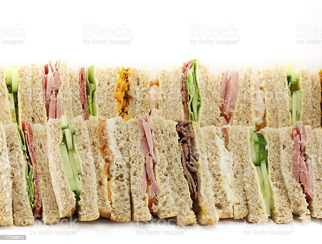 Platter of Triangular Sandwiches stock photo