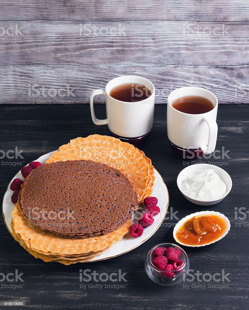 Platter With Chocolate Pancakes Stock Photo Download Image Now Istock